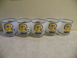 Set Of 5 Vintage 1980s Green Bay Packers Nfl Mobil Frosted Drinking Glasses