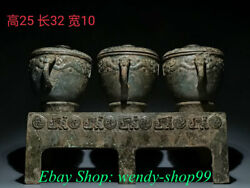 13 Rare Antique Chinese Bronze Ware Dynasty Palace 3 Jar Base Food Vessels