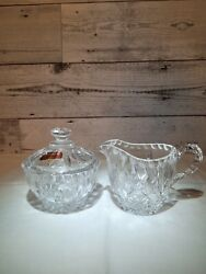 Gorham Full Lead Crystal King Edward Covered Sugar Bowl And Cream Pitcher