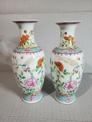 Pair Of 2 10 Antique Chinese Famille Rose Porcelain Vase With Flowers Birds