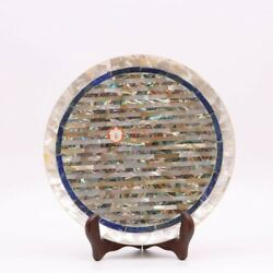 Round Shape Marble Table Top Hand Made Collectible Plate For Home Decor Gift Her