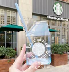New Starbucks Cool Milk Carton Shaped Glass Cup Bottle With Blue Straw Best-65