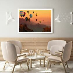 Hot Balloons Over Forest Scenery Print Premium Poster High Quality Choose Sizes