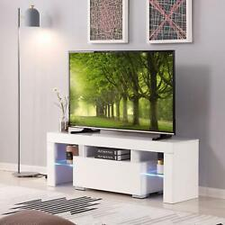 51in White High Gloss Led Tv Stand Shelf Entertainment Center Console Cabinet
