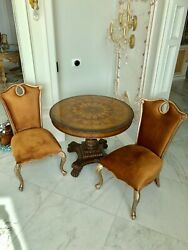 Oldworld Antique Italian Pricy Tricolor Wood Pedestal Table 2 Chairs