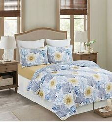 Monterey Mist Blue And White 3 Pc Quilt Set . Queen -all Cotton Shell-coastal
