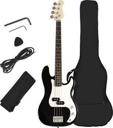 Electric Full-size 4-string Bass Guitar Set With Strap Gig Bag Amp Cord And Pick