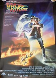 Michael J. Fox Christopher Lloyd Signed Back To The Future Full Poster Beckett