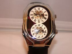 Phillip Stein Prestige Stainless Skeleton Automatic With Black Leather Strap