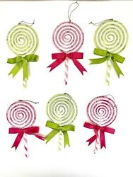 Christmas Lot Of 6 Lollipop Candy Frosted Sugar Coated 6pc Plastic Ornament