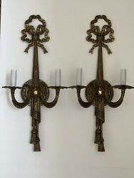 """PAIR Vintage Brass Tassel Bow French Wall Sconces 23"""""""