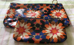 Fossil Travel Cosmetic Cases Coated Zippered Set of 2 Geometric NWOT $10.00