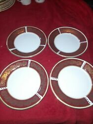 Elizabethan Staffordshire Burgundy And Gold Plates X 4 6.5 Inches.