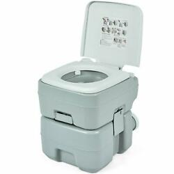 5.3 Gallon Outdoor Portable Toilet With Level Indicator For Travel Or Camping