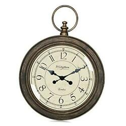Rustic Wall Clock Large 24inch Silent Non Ticking Battery Operated Brown