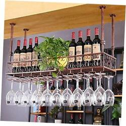 Industrial Vintage Metal Wine Glass Hanging Rackwall 47.2and039and039l Red Copper