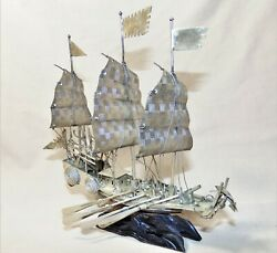 Antique Ca. 1920s Sterling Silver Miniature Chinese War Junk Boat Ship 7.5 Exc