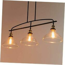 Vintage Rustic 3-light Kitchen Island Lighting With Clear Glass Shades, 4