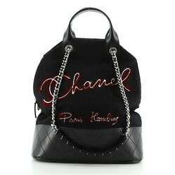 Paris-hamburg Tote Embroidered Wool With Quilted Calfskin Large