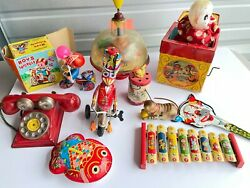 Lot 10 Vintage Tin Toys-wind Up-weasel-cat-phone-noise Makers-spinner-xylophone