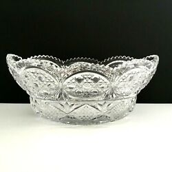 Leaded Crystal Cut Glass Bowl Saw Tooth Rim 11.5 X 6.5 In X 5 In T Vtg 5.5 Lbs