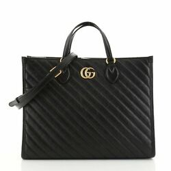 Gg Marmont Shopping Tote Diagonal Quilted Leather Medium
