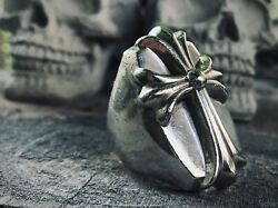 Massive One Off Chrome Hearts Showstopper Full Knuckle Solid Silver Cross Ring