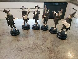 Rare Vintage Gorgeous Hand Carved Wood And Resin Musical Band Figurines Germany 7