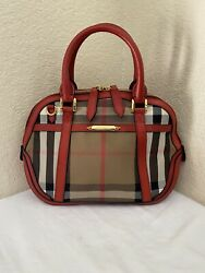 Burberry Small Orchard Bridle House Check Fabric Red Leather Satchel Handbag $349.99