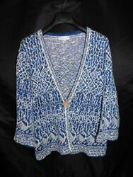 Coldwater Creek 1x Blue White Cardigan Sweater V Neck One Button Cotton Ramie 1x