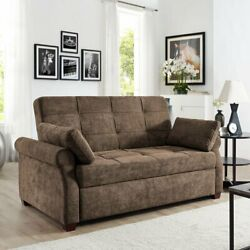 Convertible Queen Sofa Bed Brown Finish Luxury Sofas For Living Room