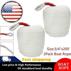 3/4x200and039 Ft 2 Pack Twisted Marine Anchor Rope Boat Line Dock-line With Thimble