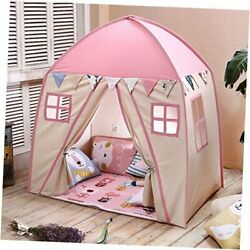 Teepee Tent For Kids Play Tent Children Fort Canvas Canopy For Indoor Pink