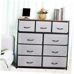 9drawers Extra Wide Fabric Storage Organizer Clothes Drawer Dresser With Grey