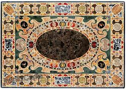 36 Inch Rectangle Marble Coffee Table Top Mosaic Art Luxurious Look Island Table