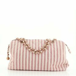 Vintage Chain Zip Satchel Striped Quilted Canvas Large