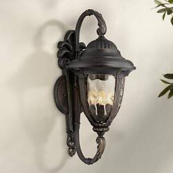 Traditional Outdoor Wall Light Fixture Bronze Double Arm 27 1/2 For Patio Porch