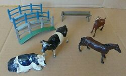 Britains Model Farm Lead Animals 2 Cows Horse Foal And Accessories 8 Pieces In All