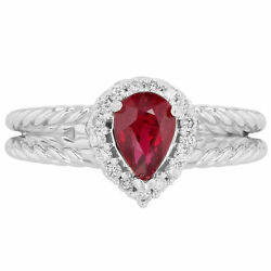 Ruby And Diamond Halo Split Shank Ring In 14kt White Gold