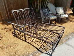 Montego Double Cast Aluminum Outdoor Chase Lounge Cushions And Pair Club Chairs