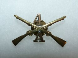 Original Us Army 1907 Pattern A Co 4th Infantry Officer Brass Collar Device