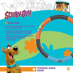 Leather Steering Wheel Cover Official Dc Comics Scooby Doo Logo Protector Skin