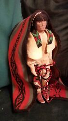 Old Hopi Woven Cradle Board And Carved Doll Native American Indian
