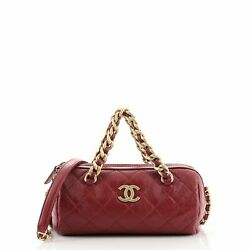 Paris-31 Rue Cambon Bowling Bag Quilted Shiny Lambskin Small