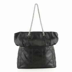 Christian Dior Granville Chain Tote Cannage Quilt Leather Xl