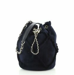 Fringed Cc Drawstring Bucket Bag Quilted Suede Small