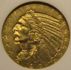 1912 Gold 5, Ms-62 Anacs Old Holder