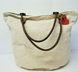 Village Industry Fair Trade Tote Bag Canvas Leather Cream Brown Purse Heart $9.99
