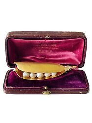 Antique Brooch Or Pendant Pea Pod With Pearls 14k Gold In Original Box