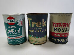 Lot Of 3 Vintage Penray Trek And Thermo Royal Antifreeze Cans Oil Advertising